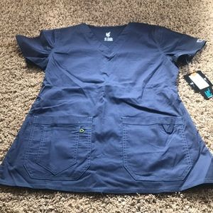 NWT medcouture MC2 scrub top navy SMALL